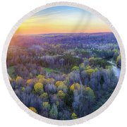 Manistee River Sunset Aerial Round Beach Towel