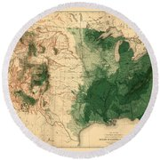 Map Of American Forests 1883 Round Beach Towel