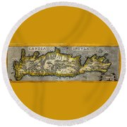 Map Of Crete 1584 Round Beach Towel