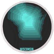 Map Of Wisconsin 3 Round Beach Towel