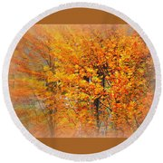 Maple Focal Zoom Round Beach Towel
