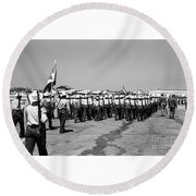 March At Airport Round Beach Towel