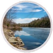 March Morning At Sanctuary Pond Round Beach Towel