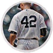 Mariano Rivera  New York Yankees Abstract Art 1 Round Beach Towel