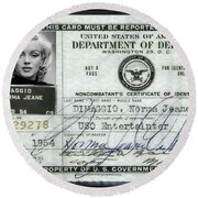 Marilyn Monroe Dept Of Defense Identification Card 1954 Round Beach Towel