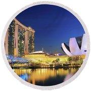 Marina Bay Sands Art Science Museum And Helix Bridge At Dusk Singapore Round Beach Towel