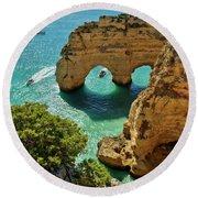 Marinha Arches, Portugal Round Beach Towel