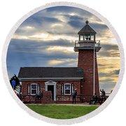 Mark Abbott Memorial Lighthouse And Santa Cruz Surfing Museum Round Beach Towel