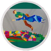 Mark And Bella Chagall Above The City Round Beach Towel
