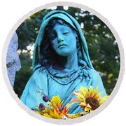 Mary, Mother Of Jesus Round Beach Towel