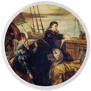 Mary, Queen Of Scots - The Farewell To France, 1867  Round Beach Towel