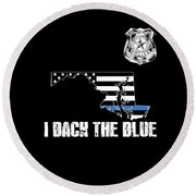 Maryland Police Appreciation Thin Blue Line I Back The Blue Round Beach Towel