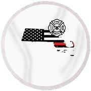 Massachusetts Firefighter Shield Thin Red Line Flag Round Beach Towel