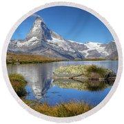 Matterhorn From Lake Stelliesee 07, Switzerland Round Beach Towel