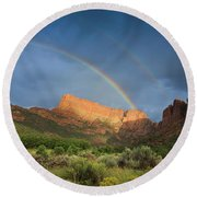 Maxwell Canyon Rainbow Round Beach Towel