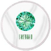 May Birthstone - Emerald Round Beach Towel