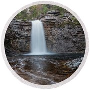 May Evening At Awosting Falls I Round Beach Towel