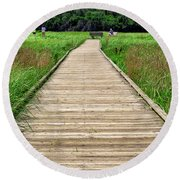 Boardwalk At Mccormack's Beach Provincial Park Round Beach Towel