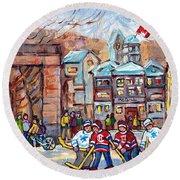 Mcgill University Roddick Gates Original Painting For Sale Hoockey Art C Spandau Canadian City Scene Round Beach Towel