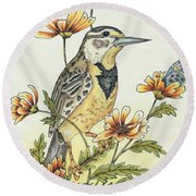 Meadow Song Round Beach Towel