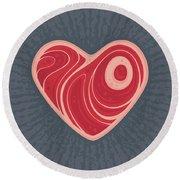 Meat Heart Round Beach Towel