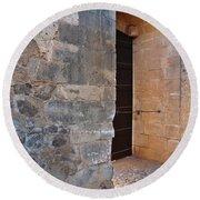 Medieval Castle Entrance In Algarve Round Beach Towel