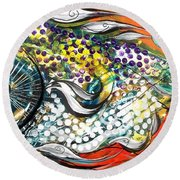 Mediterranean Fish Round Beach Towel