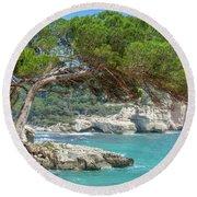 Mediterranean Landscape In Menorca Round Beach Towel