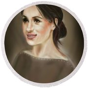 Megan Markle Portrait Painting Round Beach Towel