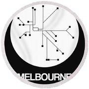Melbourne White Subway Map Round Beach Towel