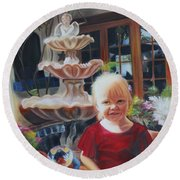 Melody By The Fountain Round Beach Towel