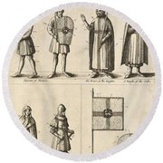 Members Of The Order Of Christ  Round Beach Towel