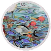 Memory Of The Coral Reef Round Beach Towel