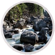 Merced River And Vernal Fall, Yosemite National Park Round Beach Towel
