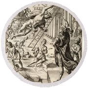 Mercury And Aeneas  State    Round Beach Towel