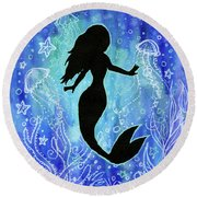 Mermaid Under Water Round Beach Towel