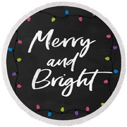 Merry And Bright 2- Art By Linda Woods Round Beach Towel
