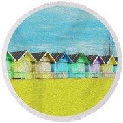 Mersea Island Beach Hut Oil Painting Look 2 Round Beach Towel
