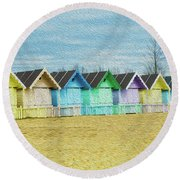 Mersea Island Beach Hut Oil Painting Look 3 Round Beach Towel
