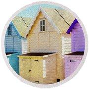 Mersea Island Beach Hut Oil Painting Look 6 Round Beach Towel