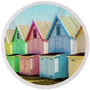 Mersea Island Beach Hut Oil Painting Look 7 Round Beach Towel