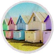 Mersea Island Beach Hut Oil Painting Look 9 Round Beach Towel