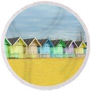 Mersea Island Beach Huts, Image 1 Round Beach Towel