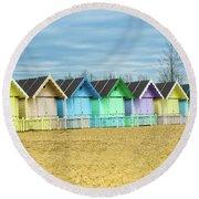 Mersea Island Beach Huts, Image 3 Round Beach Towel