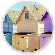 Mersea Island Beach Huts, Image 6 Round Beach Towel
