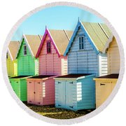 Mersea Island Beach Huts, Image 7 Round Beach Towel