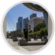 Metro Station Civic Center Los Angeles Round Beach Towel