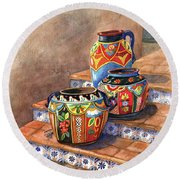 Mexican Pottery Still Life Round Beach Towel