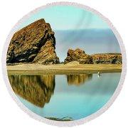 Meyers Beach Reflections - Oregon  Round Beach Towel