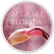Miami Florida- Pink Flamingo Round Beach Towel